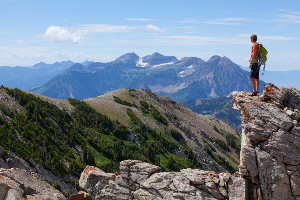 Hiker in Lone Peak Wilderness looking over timpanogos, American Fork Canyon, Utah